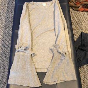 J Crew Crewneck sweater w/ bell cuffs that tie XL